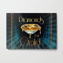 Diamonds for Gold Splatter Metal Print