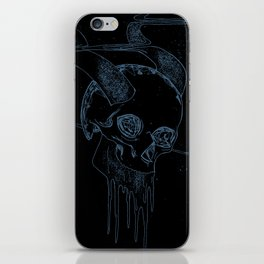 Neon Bklue Skull iPhone Skin