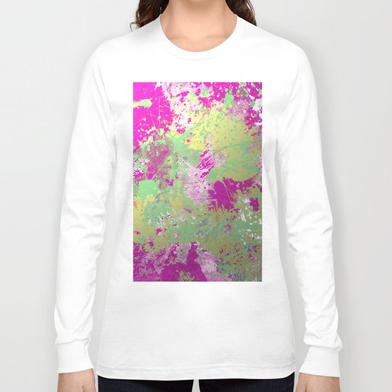 Metallic Pink Splatter Painting - Abstract pink, blue and gold metallic painting Long Sleeve T-shirt