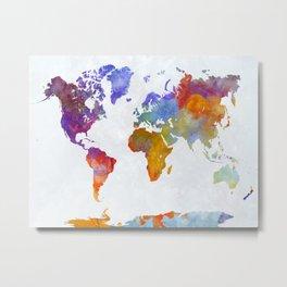 World map in watercolor 23 Metal Print