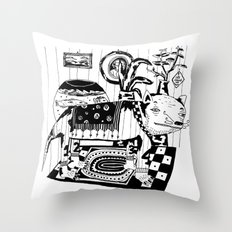 Cat in the living room. Throw Pillow