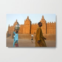 Mosque of Djenné by sunrise, Mali Metal Print