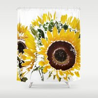 sunflowers Shower Curtains featuring Sunflowers by Regan's World