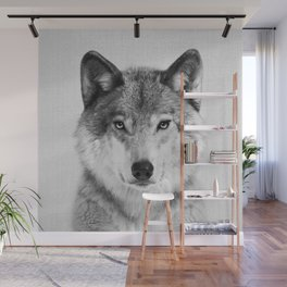 Wolf 2 - Black & White Wall Mural