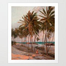 Vintage Palm Tree and Beach Art Art Print