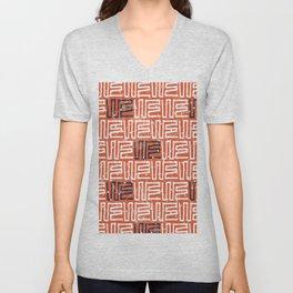Abstract hand painted orange white black geometric pattern Unisex V-Neck