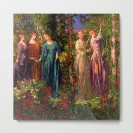 Rose Garden Tapestry Gather Ye Rosebuds While Ye May by Thomas Edwin Mostyn Metal Print