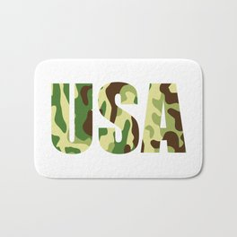 USA khaki camouflage sign Bath Mat