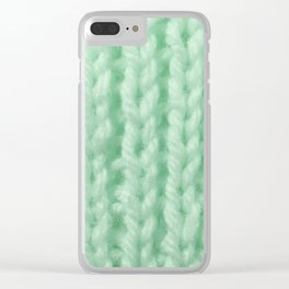 Light Green Wool Knitting Texture Clear iPhone Case
