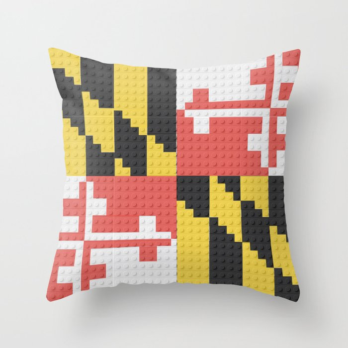 Maryland State Flag Building Block Design Throw Pillow By Pixelsandpaintmk Society6