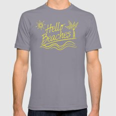 Hello Beaches Slate SMALL Mens Fitted Tee