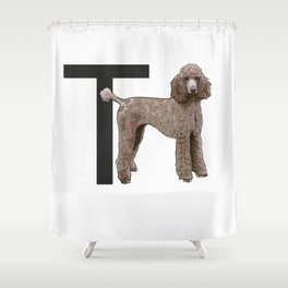 T is for Toy Poodle Shower Curtain