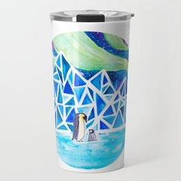 Aurora australis and icy mountains Travel Mug