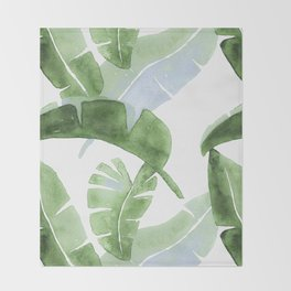 Tropical Leaves Green And Blue Throw Blanket