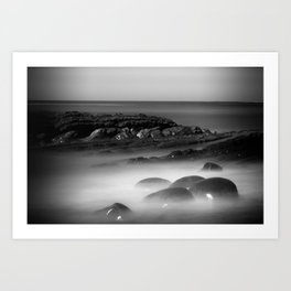 Another Dimension geological formations Bowling Ball Beach Art Print