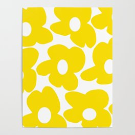 Large Yellow Retro Flowers on White Background #decor #society6 #buyart Poster