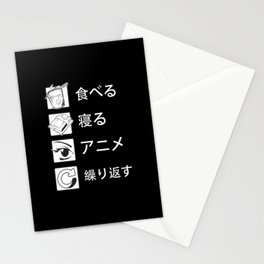 Eat Sleep Anime Repeat Japanese Otaku Stationery Cards