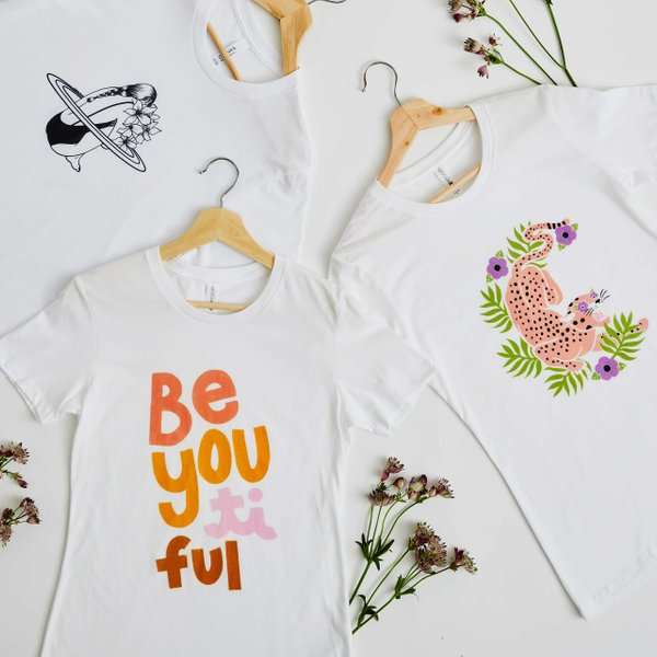 graphic t-shirts on hangers