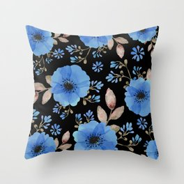 Blue flowers with black Throw Pillow
