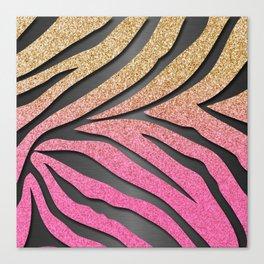 Gold Glitter & Pink Zebra Stripes on Dark Metallic Canvas Print