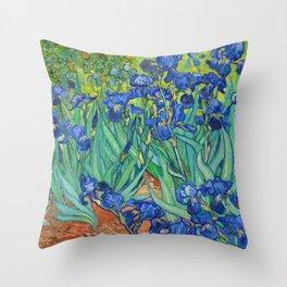Vincent Van Gogh Irises Painting Throw Pillow