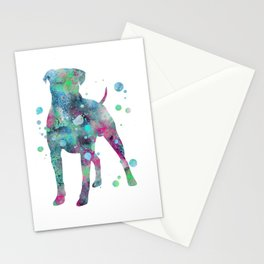 Boxer Dog Watercolor Painting 4 Stationery Cards