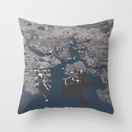 Bosston - City Map II Throw Pillow