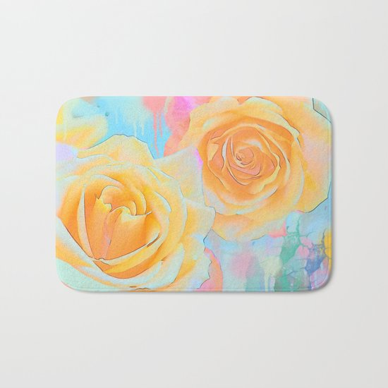 Pastel roses on an abstract water colour background Bath Mat