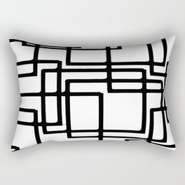 Interlocking Black Squares Artistic Design Rectangular Pillow