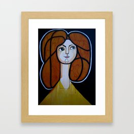 red headed woman Framed Art Print