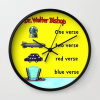 verse Wall Clocks featuring Fringe One Verse, Two Verse, Red Verse, Blue Verse by Passive Fluency