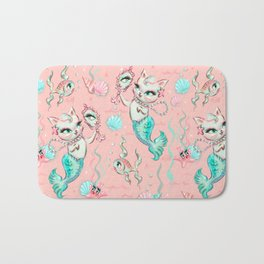 Merkittens with Pearls on blush Bath Mat