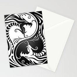 White and Black Yin Yang Dragons Stationery Cards