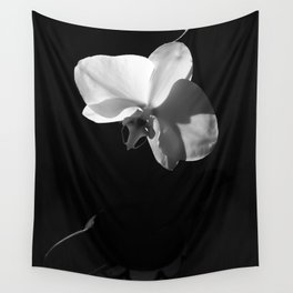 Black and White Orchid Wall Tapestry