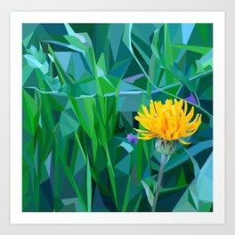 Yellow flower in the grass Art Print