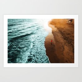 Red Hoodie Beach Art Print