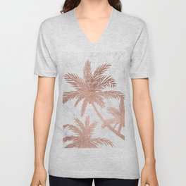 Tropical simple rose gold palm trees white marble Unisex V-Neck