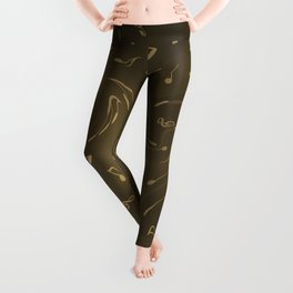 gold music notes swirl pattern Leggings
