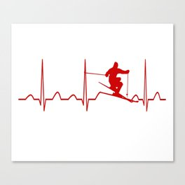 SKIING MAN HEARTBEAT Canvas Print