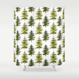 Hand painted green forest green watercolor trees motif Shower Curtain