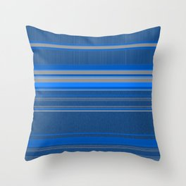 Bright Blues with Grey Stripes Throw Pillow