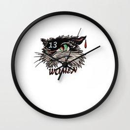 Unlucky with women black cat Wall Clock
