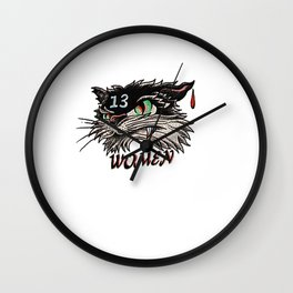 Unlucky with women black cat Wall Clock