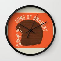 sons of anarchy Wall Clocks featuring Sons of Anarchy Skull Helmet by Ryder Doty