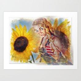 Sunflower Girl Art Print