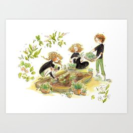 Parsley, Merlin, and Beatrice Gardening Art Print