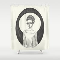 bride Shower Curtains featuring The Bride by Caitlin McCarthy