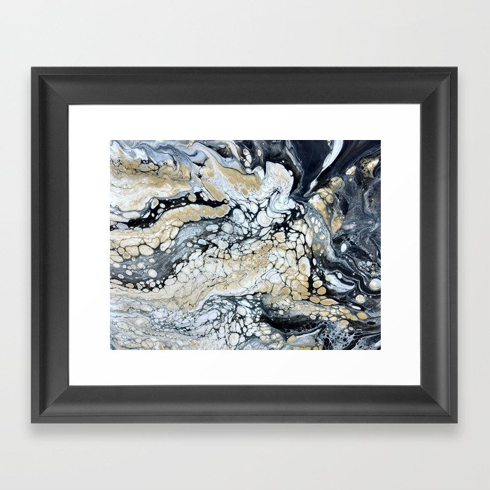Bold Black Gold & White Abstract Framed Art Print by ...