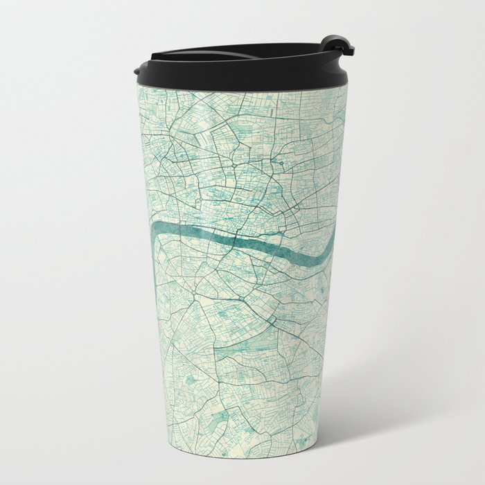 London Map Blue Vintage Metal Travel Mug