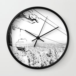 Chairlift // Mountain Ascent Black and White City Photograph Wall Clock